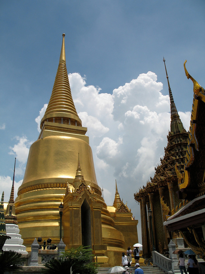 The Golden Chedi in the Wat Phra Kaew is covered entirely in 14K gold leaf.  It was build during the reign of King Monkgut in the 1850s.