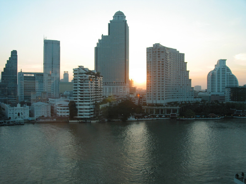The Chao Phraya is a major river in Thailand, with its low alluvial plain forming the centre of the country. It flows through Bangkok and then into the Gulf of Thailand.