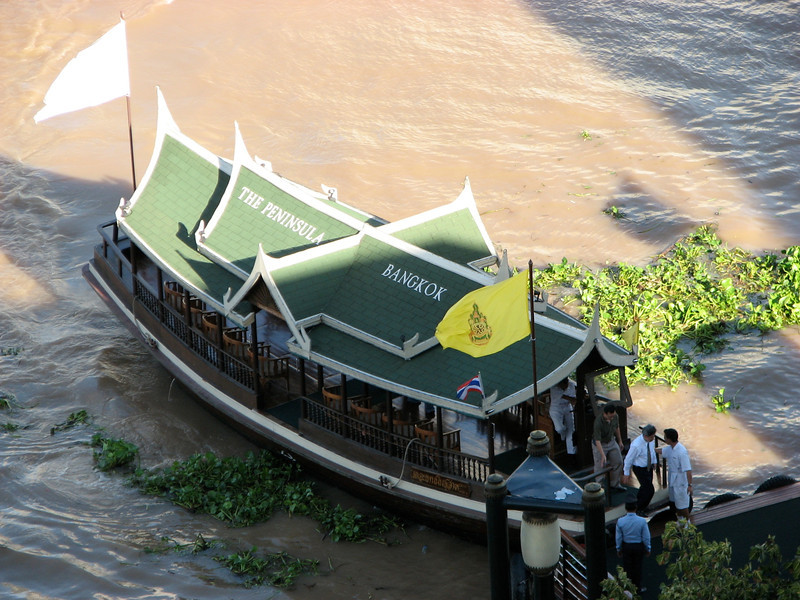 The Peninsula has a boat that takes you across the Chao Praya to it's pier on the other side in the city of Bangkok.  The ride takes less than 4 minutes.