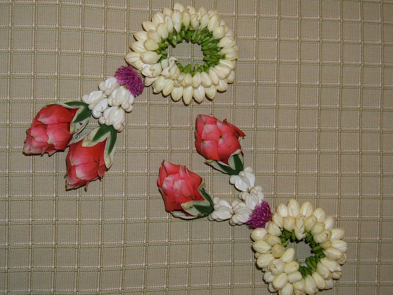 On arrival, each guest is given a floral bracelet.