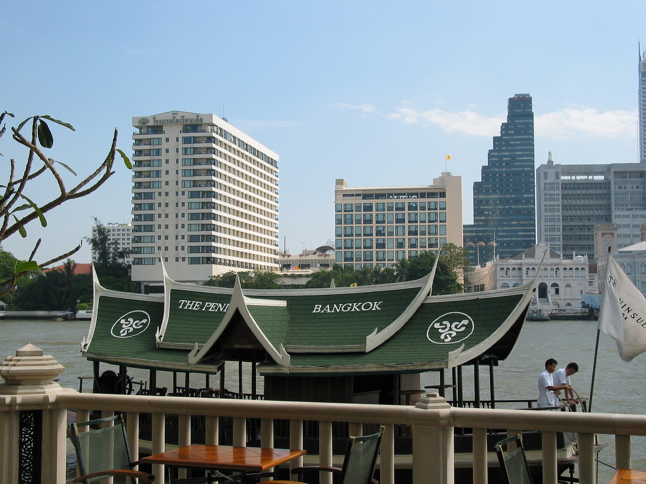 Getting back and forth across the Chao Phraya is easy with the free shuttle boat.