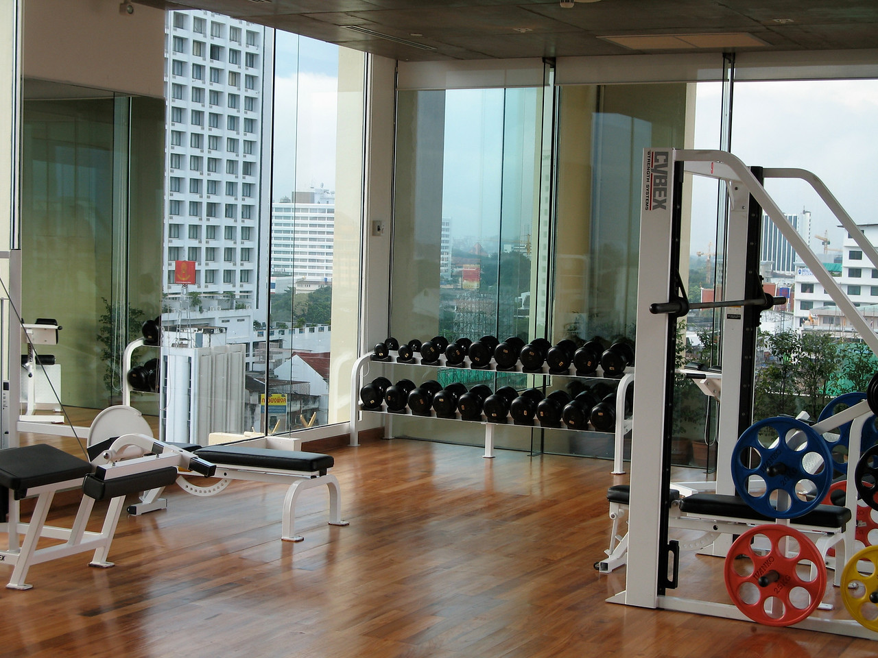 On the top level of the hotel, there's a full size workout room and yoga area on the rooftop.  You have 360 degree views of Chiang Mai through floor to ceiling windows.