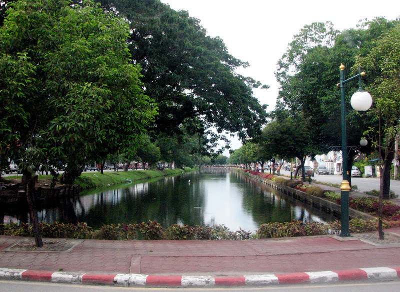 The moat runs around the entire Old City portion of Chiang Mai.