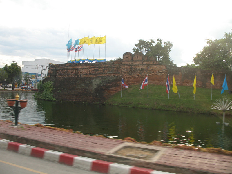 As head towards the hotel from the Chiang Mai airport, we pass what's left of the old city wall and moat that surround Chiang Mai.