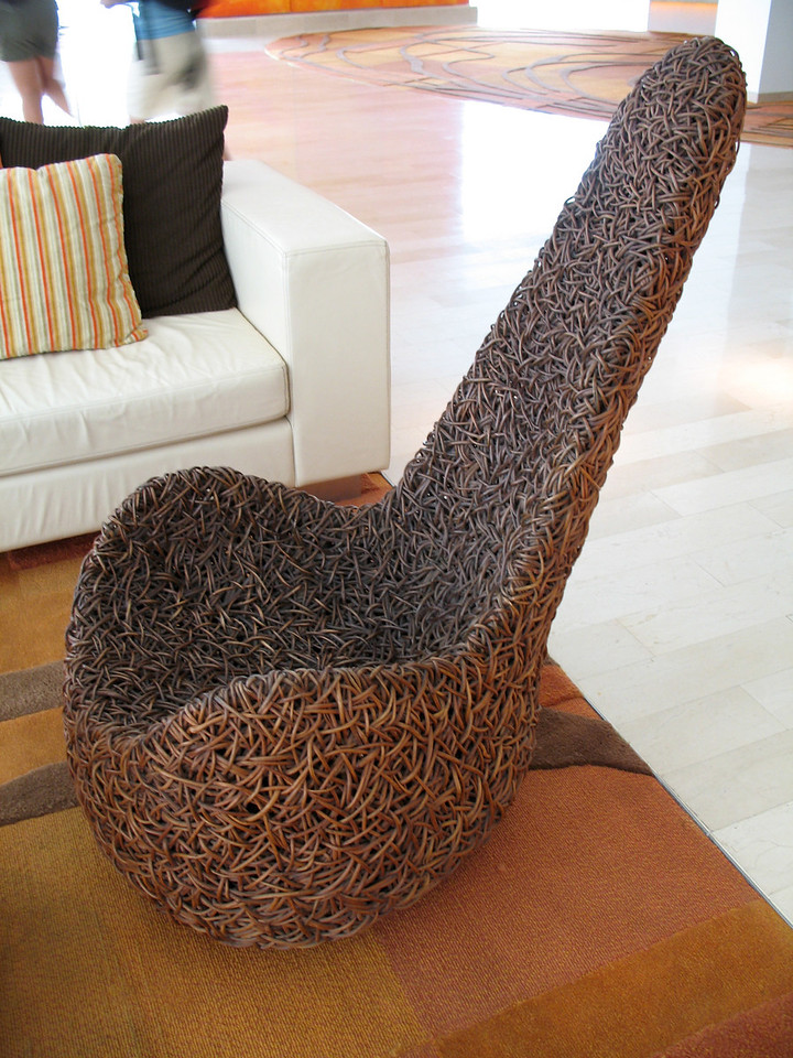 Some really funky chairs in the hotel lobby.