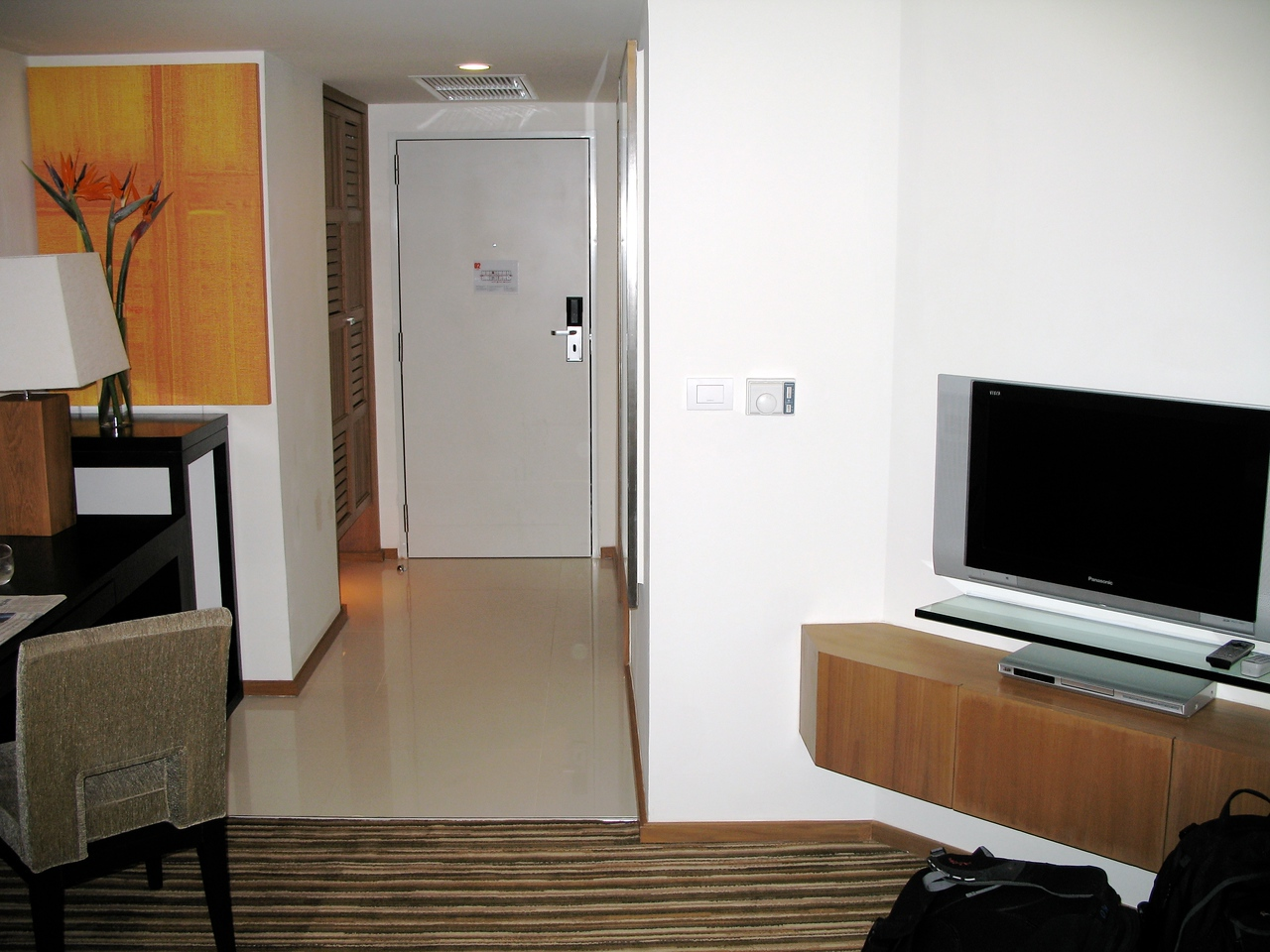 Each room comes with two flat panel televisions.  One in the bedroom area and one in the living area.