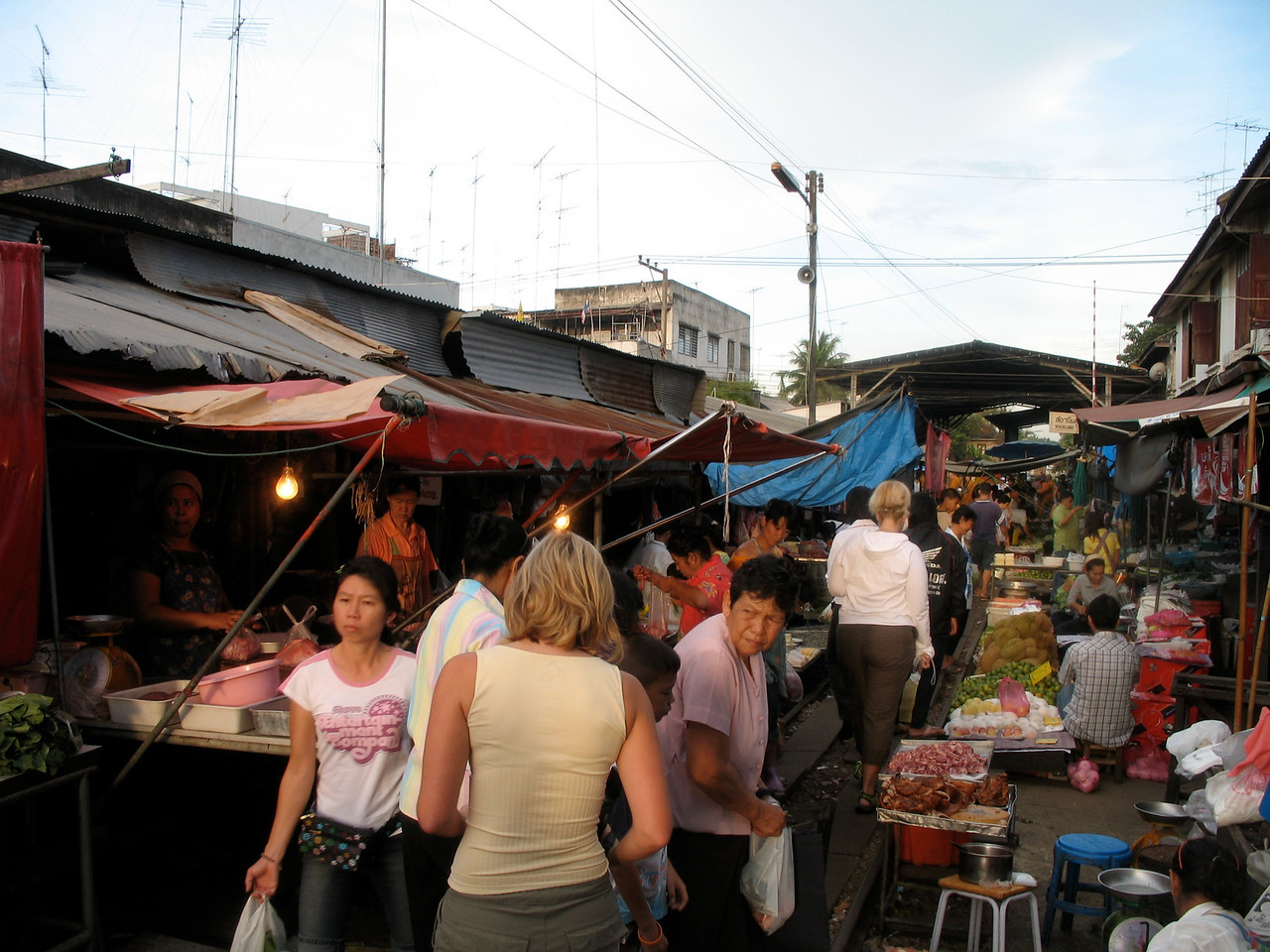 The Floating Market is about 70 miles southwest of Bangkok.  About half way there, we stop in a local town to take a look through their morning market.