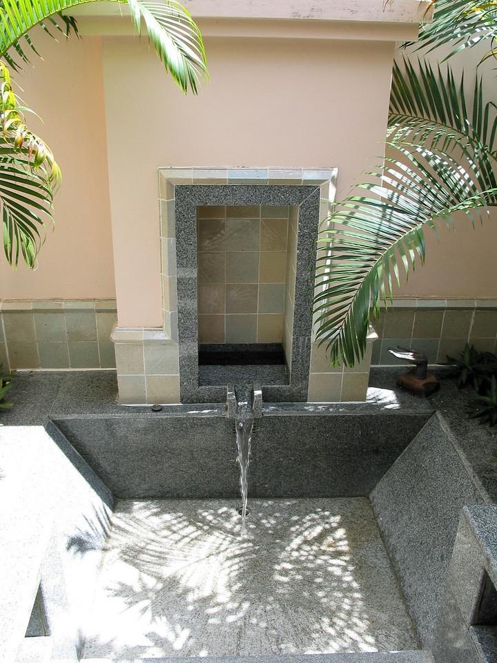 Each villa features an outdoor bathtub...