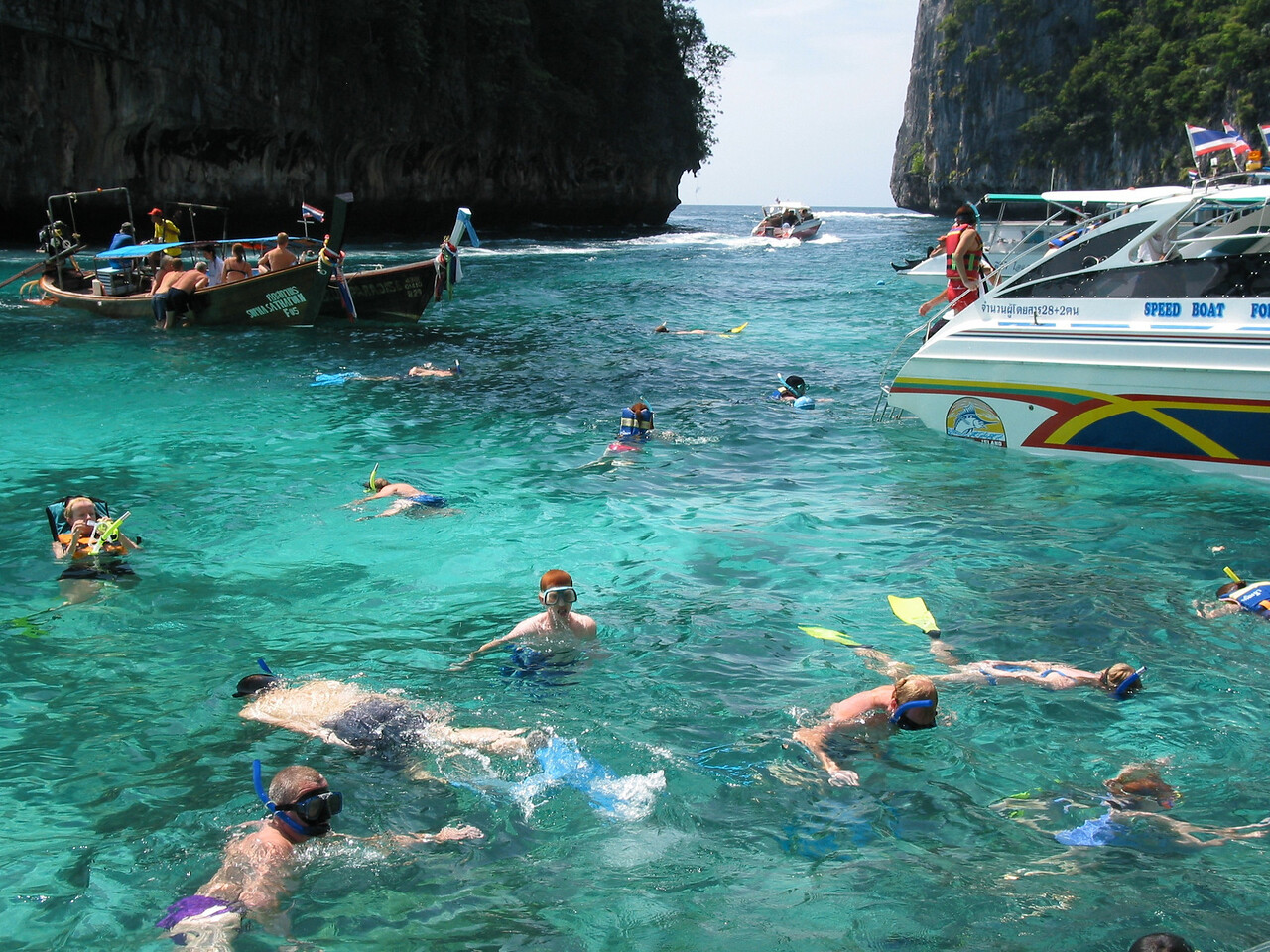 Ko Phi Phi is a popular place for diving and snorkeling, kayaking and other marine recreational activities