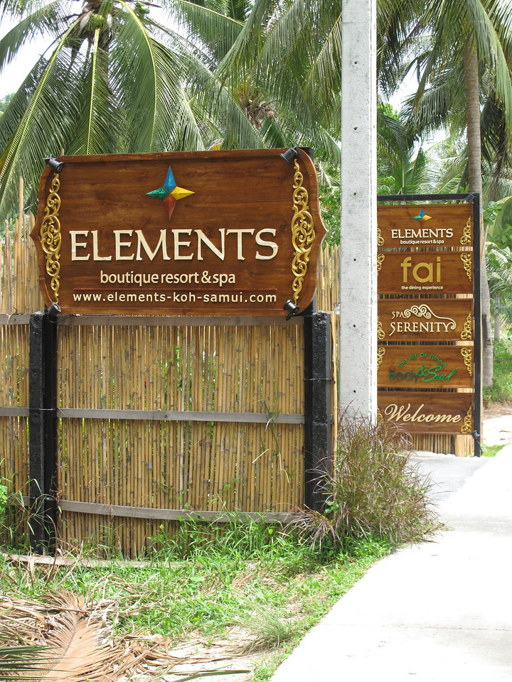 Our stay in Koh Samui is at the Elements Resort & Spa located in the far southwest corner of the island.