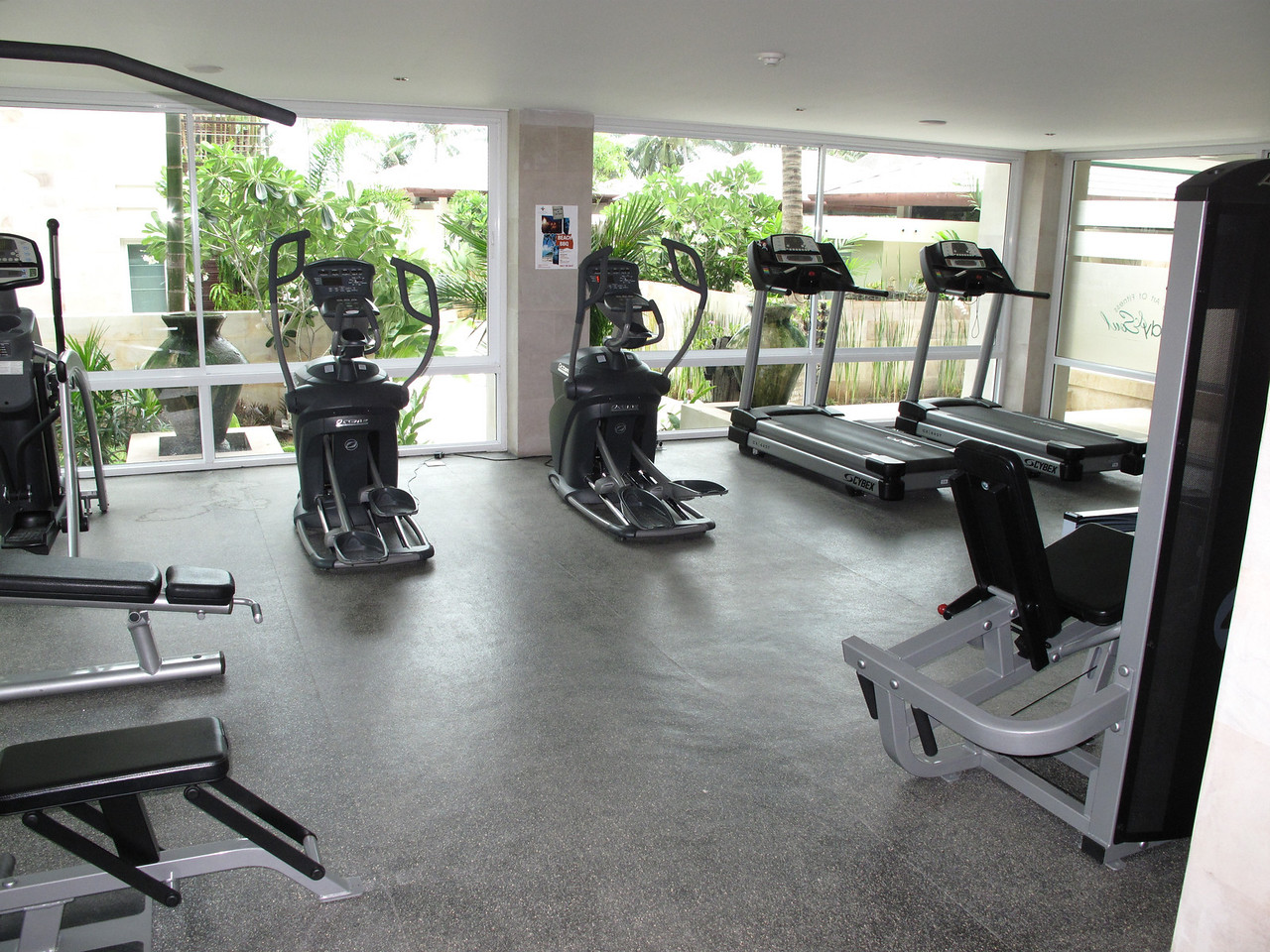 The hotel has a 600 sq ft gym with modern equipment overlooking the property.