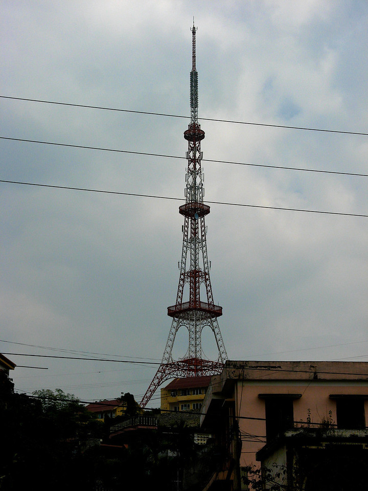 In the middle of Dien Bien Phu is a communications tower that looks very similar to the Eiffel Tower.