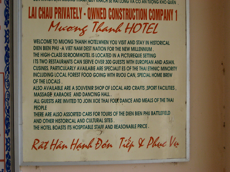 There aren't a large number of hotels in Dien Bien Phu.