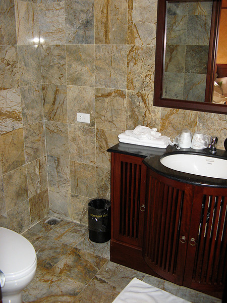 The bathrooms are marble and even have a fairly full size shower.