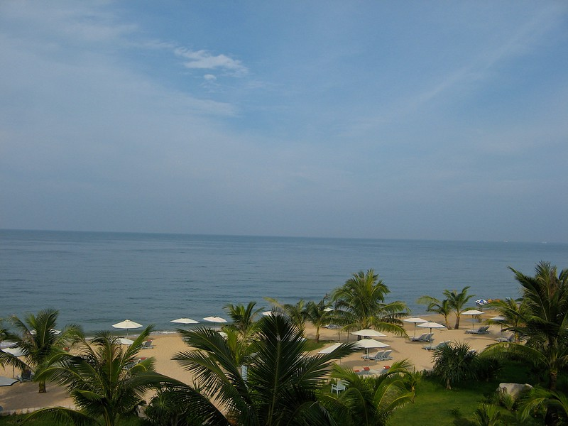 Looking out at the Gulf of Thailand and the beach.