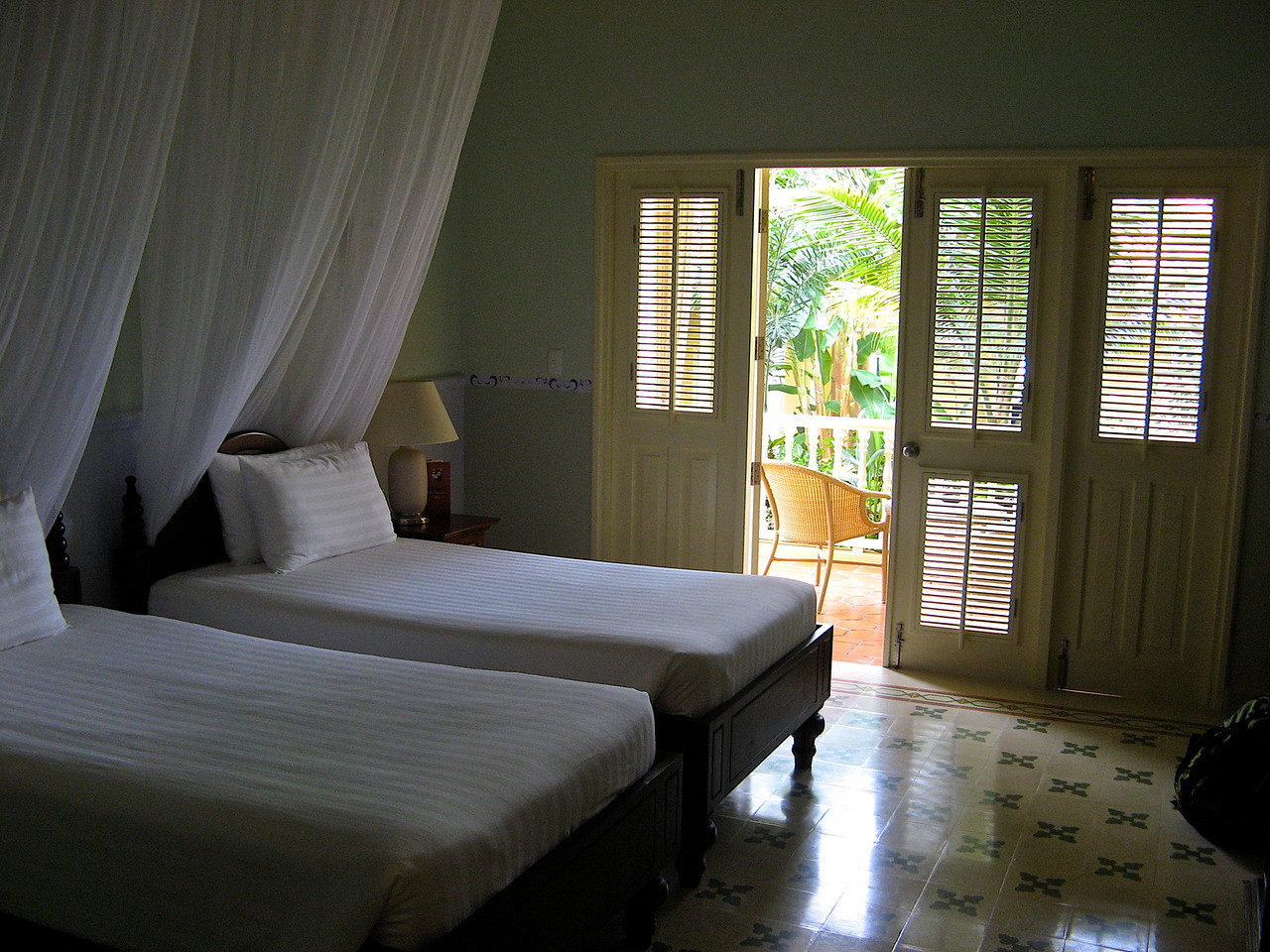 Rooms are very large and each have a small patio.