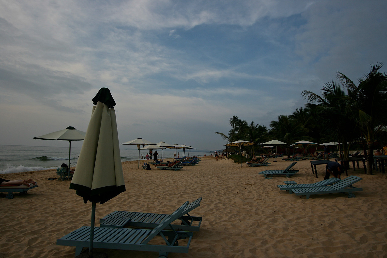 The beach at the hotel has plenty of room to spread out.