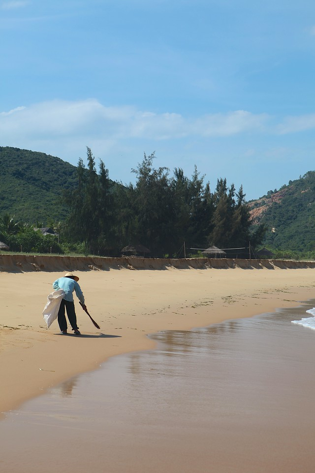 Each morning, the beach is thoroughly cleaned.