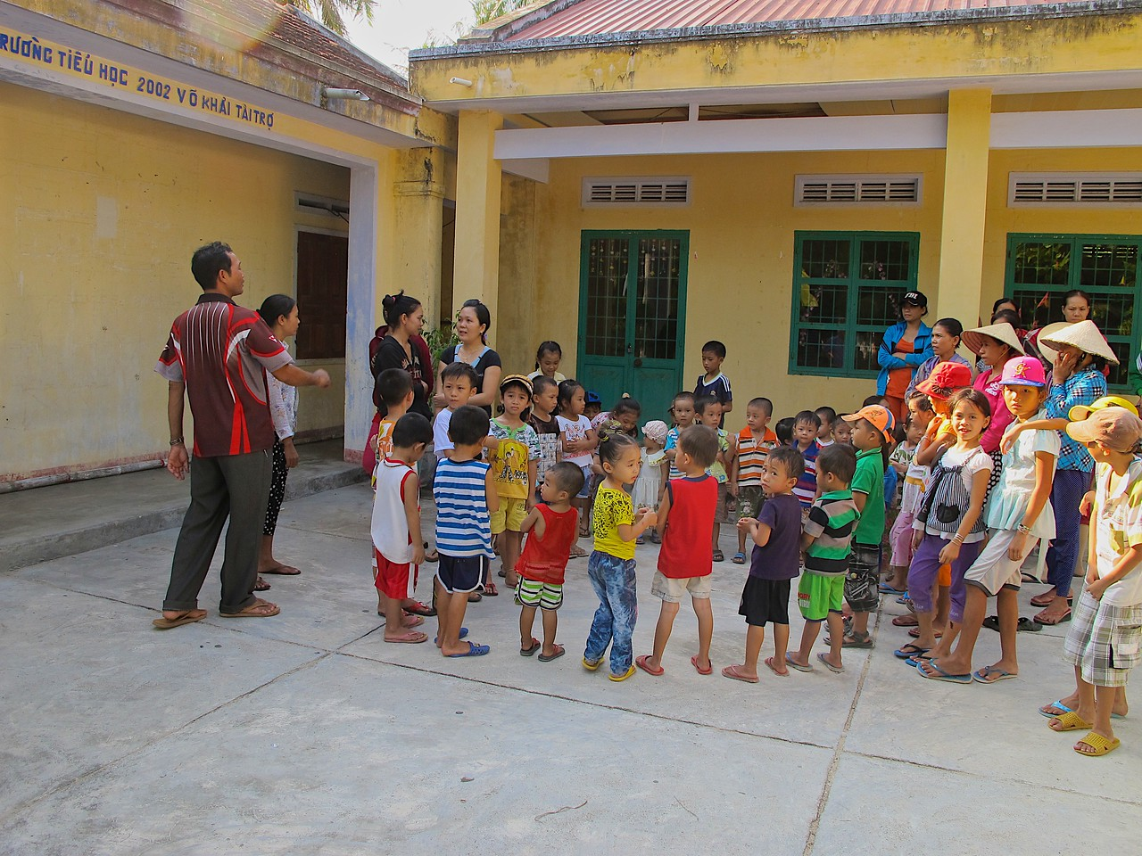 We visited two schools in the nearby village of Hoa Loi, one was for kids in grades K through 3...