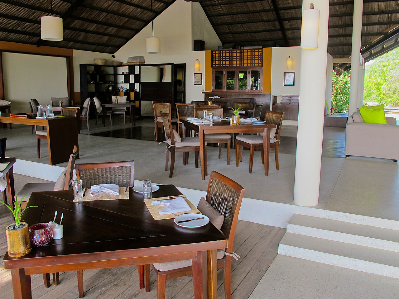 On the other side of the building is the dining area.  Meals can also be delivered directly to your villa.