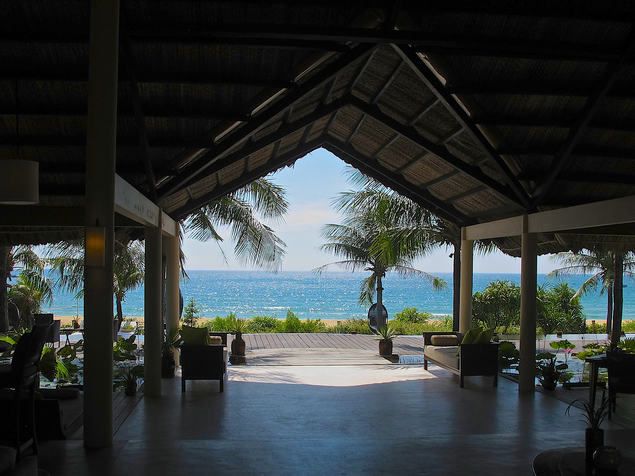 From the main building, you have a great 180 degree view of the beach and the bay, leading to the South China Sea.