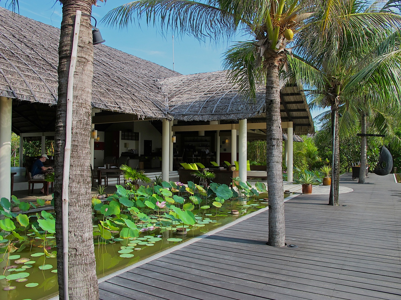 On the ocean side of the main building is a large lotus and water lilly pond between it and the pool.