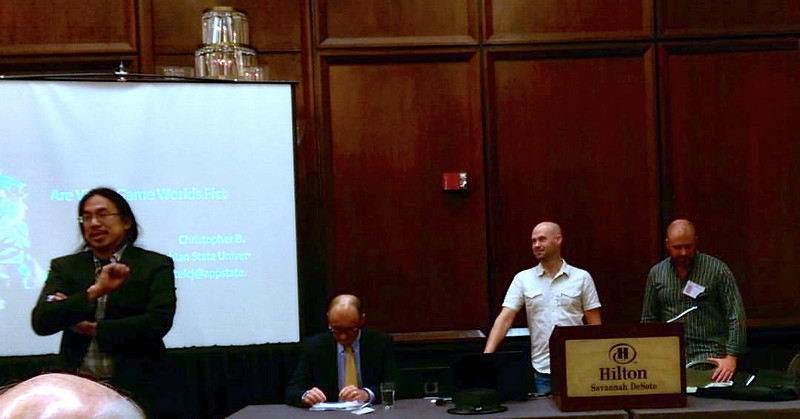 Thi Nguyen, Julian Dodd, Christopher Bartel, Olivier Mathieu speaking at the panel on Games<br /> Photo: Shelby Moser