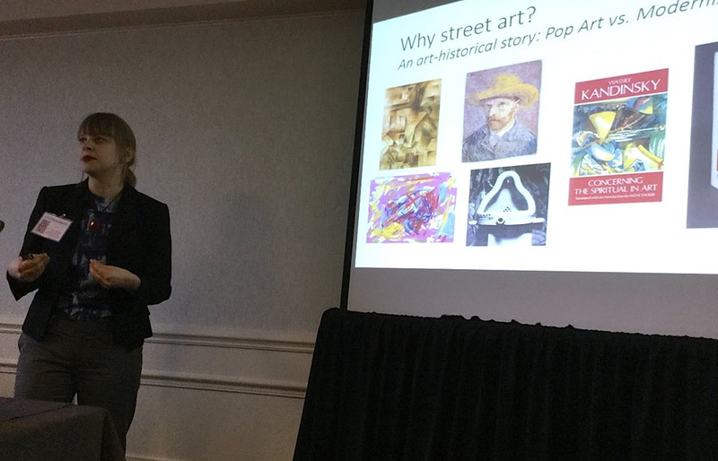 Christiane Merritt presenting during the Street Art panel<br /> Photo: CF