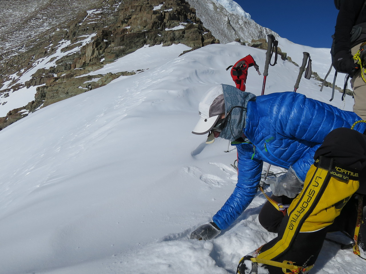 Lisa White collects samples for the ASC Snow and Ice project on Mount Vinson, Antarctica.