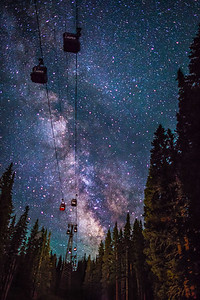 aspen colorado gondola with milky way