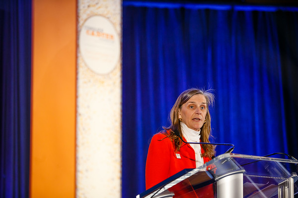 Nancy R. Daly, MS, MPH. Executive Vice President & Chief Philanthropic Officer (ex-officio), Conquer Cancer Foundation, speaks during Conquer Cancer Foundation Dinner