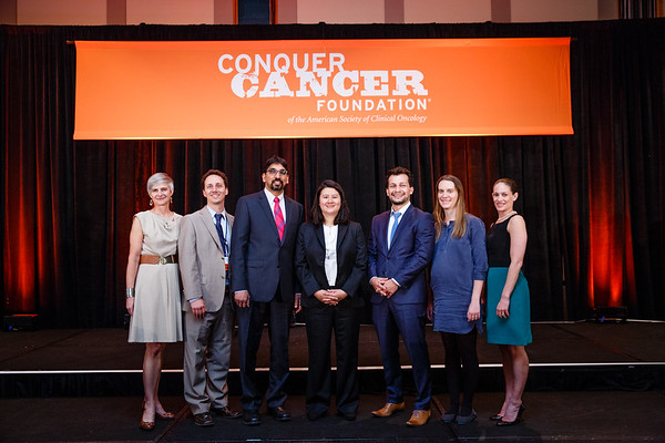 Recipients supported by Breast Cancer Research Foundation (BCRF) with Margaret Flowers, PhD during 2017 Grants & Awards Ceremony and Reception