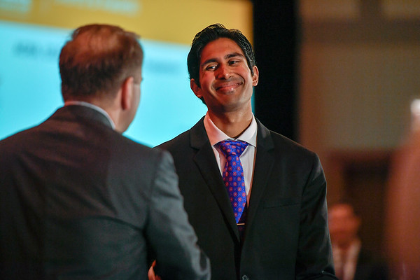 2017 YIA Recipient Aadel Chaudhuri, MD, PhD with Thomas G. Roberts, Jr., MD, Chair of the Conquer Cancer Foundation Board of Directors, during 2017 Grants & Awards Ceremony and Reception