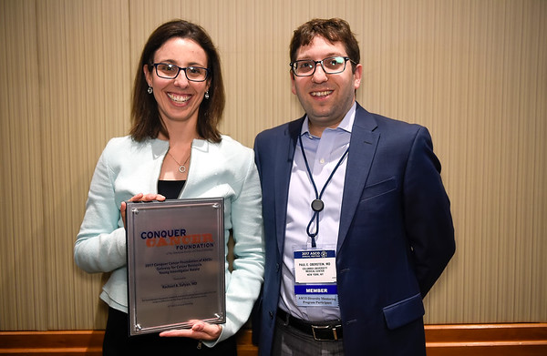 Gateway for Cancer Research YIA Recipient Rachel Safyan, MD with her mentor, Paul Oberstein, MD during 2017 Grants & Awards Ceremony and Reception