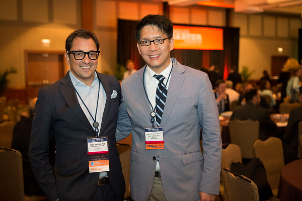 Greg Parekh, PhD, with Samuel Y. Ng, MD, PhD, during 2017 Grants & Awards Ceremony and Reception