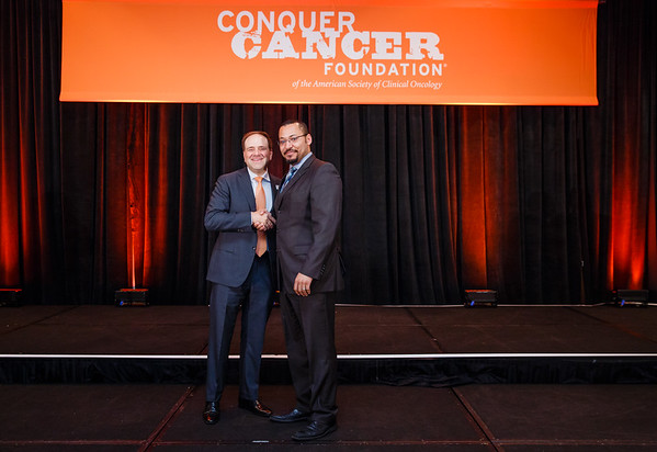 2017 Young Investigator Award Recipient Anthony Daniyan, MD with Thomas G. Roberts, Jr., MD, Chair of the Conquer Cancer Foundation Board of Directors, during 2017 Grants & Awards Ceremony and Reception