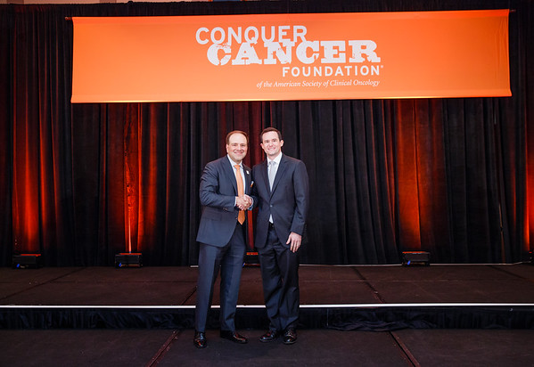 2017 Young Investigator Award  Recipient Andrew Dunbar, MD with Thomas G. Roberts, Jr., MD, Chair of the Conquer Cancer Foundation Board of Directors, during 2017 Grants & Awards Ceremony and Reception