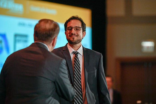 2017 YIA Recipient Pavlos Msaouel, MD, PhD with Thomas G. Roberts, Jr., MD, Chair of the Conquer Cancer Foundation Board of Directors, during 2017 Grants & Awards Ceremony and Reception