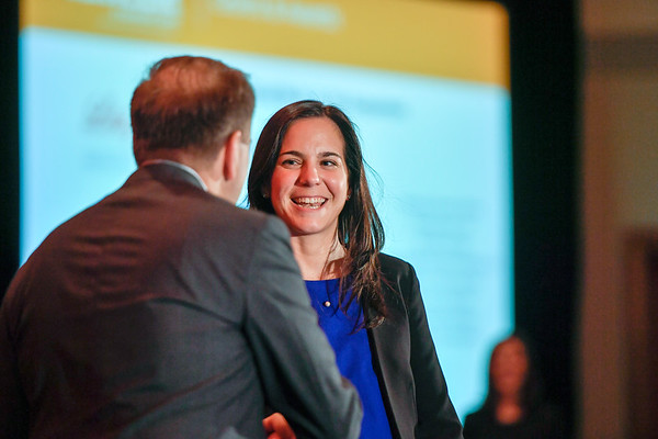 2017 YIA Recipient Angela Lamarca, MD, PhD with Thomas G. Roberts, Jr., MD, Chair of the Conquer Cancer Foundation Board of Directors, during 2017 Grants & Awards Ceremony and Reception