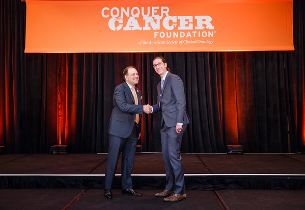Special Merit Award Recipient Michal Zapotocky, MD, PhD with Thomas G. Roberts, Jr., MD, Chair of the Conquer Cancer Foundation Board of Directors, during 2017 Grants & Awards Ceremony and Reception