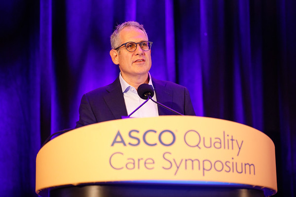 Chair-Elect, Ethan M. Basch, MD, FASCO, BA, during Welcome of the Day
