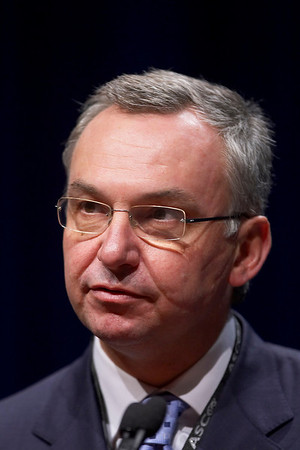 Chicago, IL - ASCO 2007 - Jose Baselga, MD, presents an abstract during the Clinical Science Symposium: Targeting Breast Cancer with Monoclonal Antibodies and Small Molecules: Beyond HER2, Saturday, June 2, 2007, during the American Society of Clinical Oncology's (ASCO) 43rd Annual Meeting. The meeting attracts more than 25,000 oncologists, researchers, and cancer care professionals from more than 100 countries. Date: Saturday June 2, 2007. Credit: Photo Courtesy © ASCO/Todd Buchanan 2007. ASCO Contact: Tiffany Reynolds/Communications Dept.; 703-519-1423. Technical Questions: todd@toddbuchanan.com; 612-226-5154.