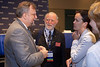 Orlando, FL - ASCO 2005 - Gabriel N. Hortobagyi, MD, FACP, ASCO President-Elect, (left),  Alan S. Coates, MD (center), and Martine J.  Piccart-Gebhart, MD (right) discuss ASCO's press briefing on the ASCO Perspective on recent breast cancer developments Friday, May 13, 2005 at the American Society of Clinical Oncology's (ASCO) 41st Annual Meeting at the Orange County Convention Center in Orlando, Fl. The meeting attracts more than 25,000 oncologists, cancer researchers and cancer care professionals from more than 100 countries. Credit: Photo Courtesy © ASCO/Todd Buchanan 2005. ASCO Contact: Carrie Housman/Communications Dept.; 703-519-1423. Technical Questions: todd@toddbuchanan.com; 612-226-5154.