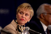 Atlanta, GA - ASCO 2006 - Sandra J. Horning MD, President of ASCO, addresses the Opening Press Briefing, Friday, June 2, 2006, during the American Society of Clinical Oncology's (ASCO) 42nd Annual Meeting. The meeting attracts more than 25,000 oncologists, cancer researchers and cancer care professionals from more than 100 countries. Credit: Photo Courtesy © ASCO/Todd Buchanan 2006. ASCO Contact: Danielle Potuto/Communications Dept.; 703-519-1422. Technical Questions: todd@toddbuchanan.com; 612-226-5154.