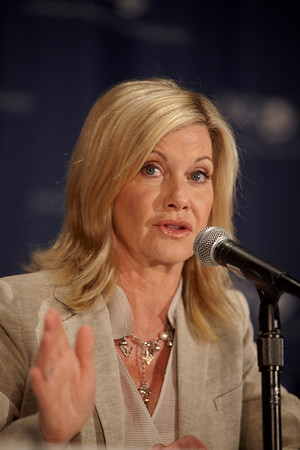 "Orlando, FL - ASCO 2009 Annual Meeting: Singer, actress and breast cancer survivor, Olivia Newton-John spoke about her work with the ""Kaleidoscope"" television program during a press conference at the American Society for Clinical Oncology Annual Meeting here today, Sunday May 31, 2009. Over 25,000  physicians, researchers and healthcare professionals from over 80 countries are attending the meeting which is being held at the Orange County Convention center and features the latest cancer  research in the areas of basic and clinical science. Date: Sunday May 31, 2009 Photo by © ASCO/Todd Buchanan 2009 Technical Questions: todd@toddbuchanan.com; Phone: 612-226-5154."