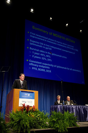 Chicago, IL - 2010 ASCO Annual Meeting: Steven O'Day speaks during the Plenary Session at the American Society of Clinical Oncology Annual Meeting on Sunday, June 6, 2010. Over 32,000 physicians, researchers and healthcare professionals from over 100 countries attended the meeting, which was held at McCormick Place and featured the latest innovations in cancer research, quality, practice and technology. Date: Sunday June 6, 2010 Photo by © ASCO/Todd Buchanan 2010 Technical Questions: todd@toddbuchanan.com; ASCO Contact: photos@asco.org