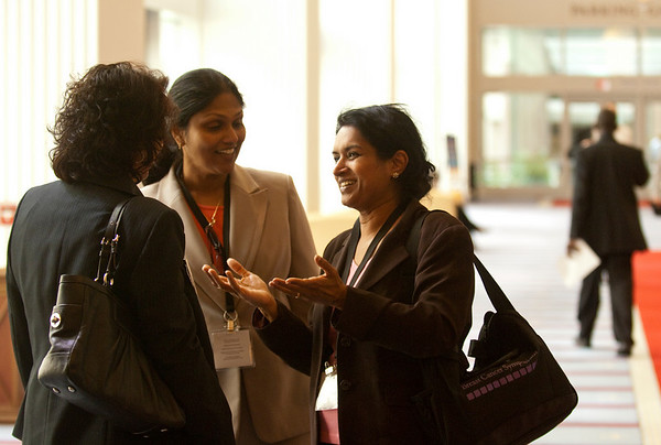 National Harbor, MD - ASCO 2010 Breast Cancer Symposium  -  Attendees chat in the Maryland Ballroom Lobby during the 2010 ASCO Breast Cancer Symposium here today, Friday October 1, 2010 at the Gaylord Hotel in suburban Washington, D.C. Date: Friday October 1, 2010 Photo by © ASCO/Zach Boyden-Holmes 2010 Technical Questions: todd@toddbuchanan.com; Phone: 612-226-5154.