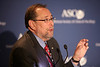 Chicago, IL - ASCO 2011 Annual Meeting:  Dr. Richard Schilsky, a former ASCO president, moderates the Opening Press Conference session at the American Society for Clinical Oncology Annual Meeting here today, Friday June 3, 2011. Over 25,000  physicians, researchers and healthcare professionals from over 100 countries are attending the meeting which is being held at the McCormick Convention center and features the latest cancer research in the areas of basic and clinical science. Date: Friday June 3, 2011 Photo by © GMG/Scott Morgan 2011 Technical Questions: todd@toddbuchanan.com; ASCO Contact: photos@asco.org Event Name: Opening Press Conference