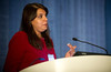 Chicago, IL - ASCO 2011 Annual Meeting:  Arti Hurria, MD  speaks during the Biologic, Clinical, and Psychsocial Correlates at the Interface of Aging and Cancer at the American Society for Clinical Oncology Annual Meeting here today, Friday June 3, 2011. Over 25,000  physicians, researchers and healthcare professionals from over 100 countries are attending the meeting which is being held at the McCormick Convention center and features the latest cancer research in the areas of basic and clinical science. Date: Friday June 3, 2011 Photo by © GMG/Zach Boyden-Holmes 2011 Technical Questions: todd@toddbuchanan.com; ASCO Contact: photos@asco.org Event Name: Biologic, Clinical, and Psychsocial Correlates at the Interface of Aging and Cancer