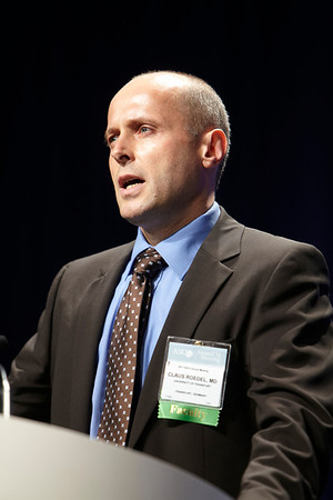Chicago, IL - ASCO 2011 Annual Meeting: Claus Roedel MD speaks during the Oral Abrstract Presentation Session - Colorectal at the American Society for Clinical Oncology Annual Meeting here today, Saturday June 4, 2011. Over 25,000  physicians, researchers and healthcare professionals from over 100 countries are attending the meeting which is being held at the McCormick Convention center and features the latest cancer research in the areas of basic and clinical science. Date: Saturday June 4, 2011 Photo by © GMG/Scott Morgan 2011 Technical Questions: todd@toddbuchanan.com; ASCO Contact: photos@asco.org Event Name: Oral Abrstract Presentation Session - Colorectal